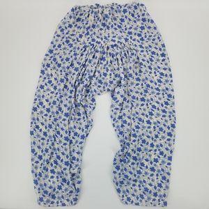 Handmade Blue Floral Elastic Waist Harem Pants